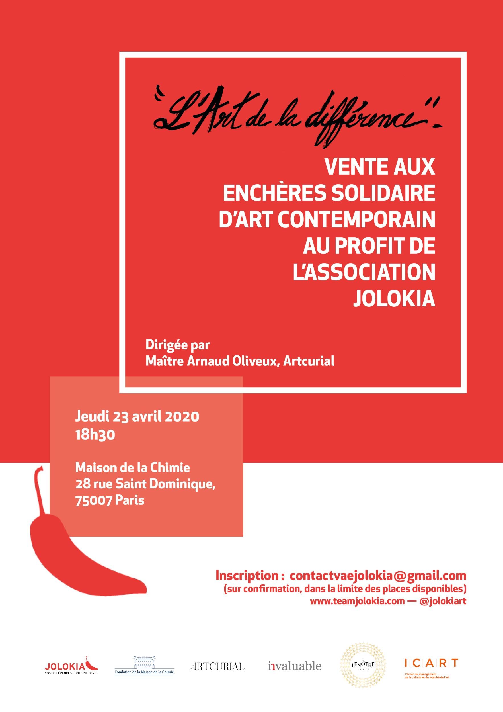 Vente aux enchères solidaire « L'Art (contemporain) de la différence »  Affiche%20L'Art%20de%20la%20difference_Jolokia_23_avril_def